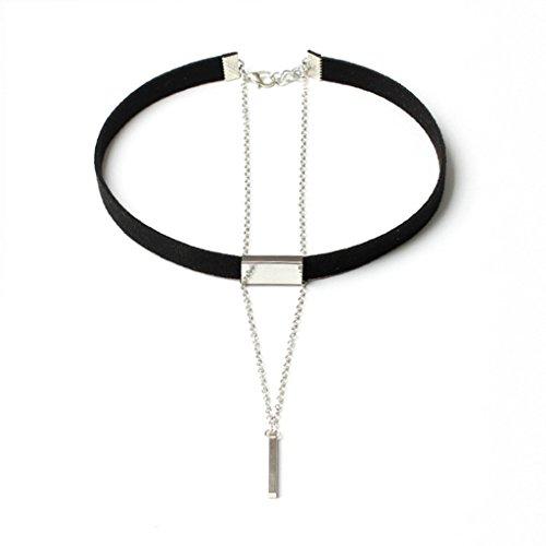 Bishilin Samt Choker Damen Halskette Halsband Zylinder Anhänger Schwarz Silber Tattoo Halskette Length 78+7CM