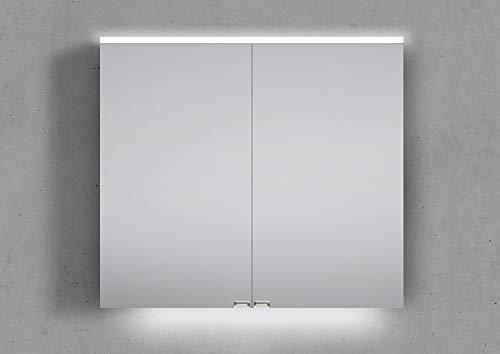 Intarbad ~ Spiegelschrank 80 cm integrierte LED Beleuchtung doppelseitig verspiegelt Aluminium IB5188
