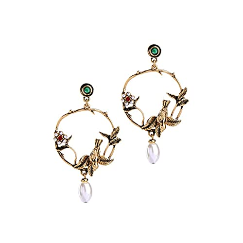 TYXL Fashion Retro Ladies Stud Pendientes Temperament All-Match Pendientes, Elegantes flores de perlas Pendientes de pájaro tridimensionales Gota de diamantes Pendientes de circonita blanca para