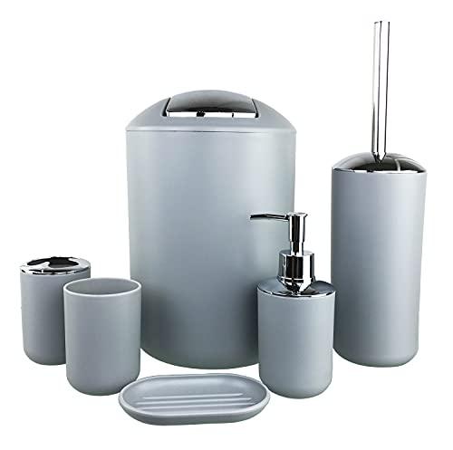 GMMH – Set di 6 accessori da bagno, con dispenser per sapone, porta saponetta e scopino per WC (modello 2, grigio)
