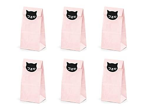 PartyDeco Kitty Katze Sweetie Taschen Satz von Geschenk-Taschen mit Aufklebern für Gäste Verpackung Geschenke Sweetie Taschen Tischdekorationen für Geburtstagsfeier
