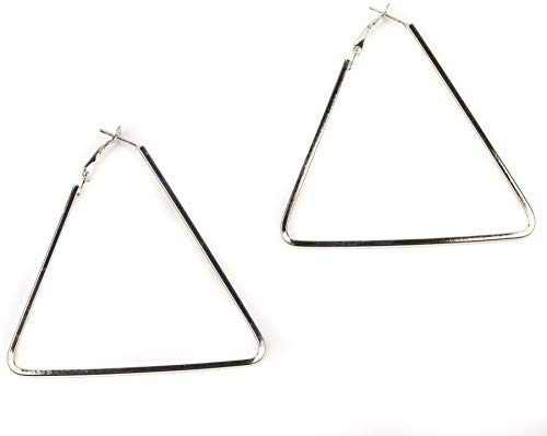 Mytoptrendz Thin Large Triangle Hoop Earrings Plain Fashion Hoops (Silver)