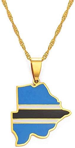 DUEJJH Co.,ltd Collar BOT A Map Logo Collar con Colgante Golden Africa Map Regalo étnico # 166521