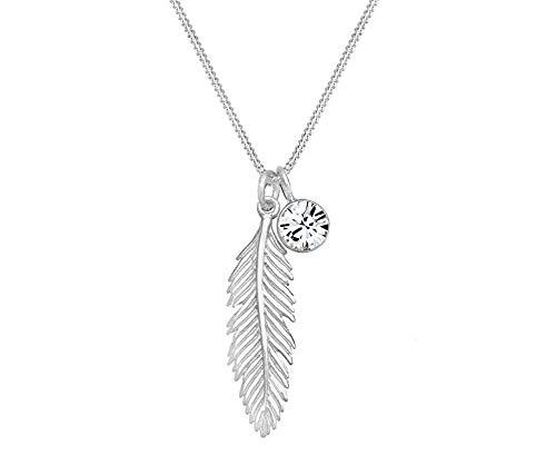 Damen Kette Feder mit Zirkonia Stein Anhänger, Silber kette Zirkonia stein Halskette stein Damenhalskette Ketten Geschenk…