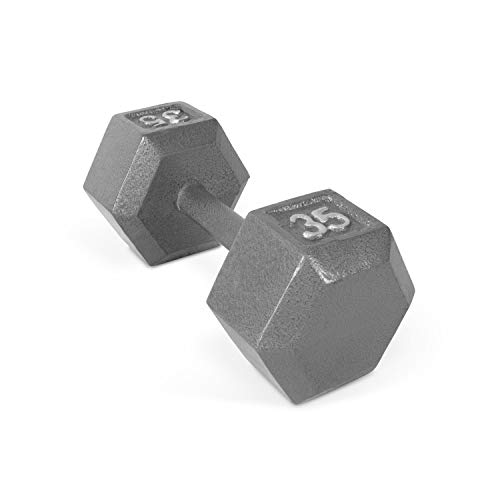 CAP-Barbells Cast Iron Hex Dumbbells, Single, 35 lbs. Medium Depth knurling on The Handle Provides Essential Grip