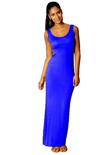 TYQQU Damen Kleid Maxilangkleid Slim Fit Rundhals Abendkleid Sexykleid Blau S