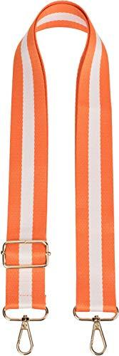 styleBREAKER Taschen Schulterriemen gestreift, Wechsel Taschengurt mit Karabinerhaken, verstellbar, Unisex 02013016, Farbe:Orange-Weiß