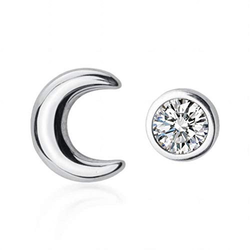 K-Earing S925 Silber Ohr Nagel Weibliche Frische Einzelne Diamant Asymmetrische Mond Süße Halbmond Bucht Ohrschmuck, 925er Silber
