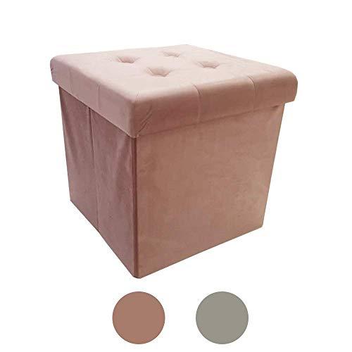 Style home Sitzbank Sitzhocker Aufbewahrungsbox mit Stauraum faltbar belastbar bis 300 kg Kunstleder 38 x 38 x 38 cm (Kunstsamt Rosa)