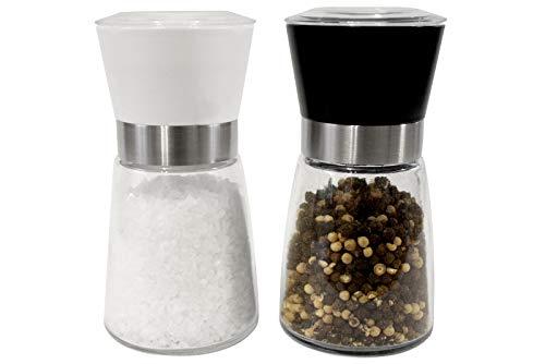 PrimeKitchen Salzstreuer & Pfeffermühle Set | 2X qualitative Gewürzmühle | leicht einstellbares Keramikmahlwerk | echter Blickfang Küche (Weiß/Schwarz) - 20er Gastro-Set