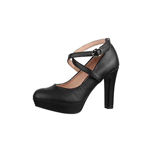 Elara Damen Pumps Riemchen High Heels Vintage Chunkyrayan ZZ535 Black-39