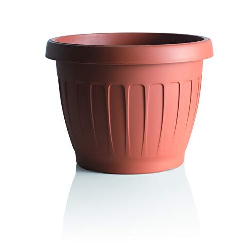 Vaso, fiori di terra, in resina, color cotto, Ø 35 cm