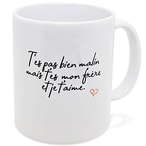 Taza de humor con texto en inglés «No bien malin» – Idea de regalo original para amigos – pareja enamorados – Para cumpleaños, fiesta de Navidad, Dino Mugs Le Sourire desde el despertador.