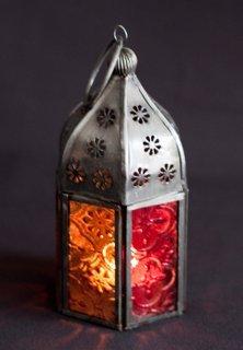 Set van 3 Marokkaanse tonale glazen thee lichte lantaarns rood en oranje