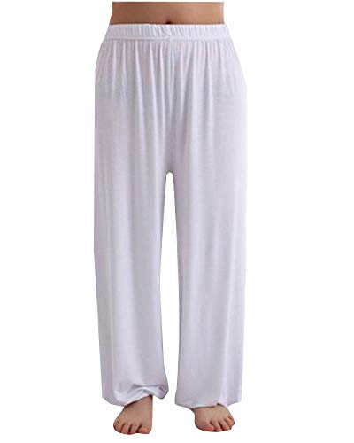 Pantalones de Yoga Modales Sueltos Haren Tai Chi Hombre Blanco XL