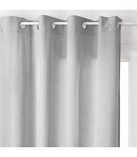 HomeMaison Rideau Uni Esprit Loft, Polyester, Gris, 260x140 cm