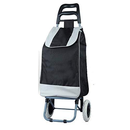 QX IAIZI boodschappentas met 2 wielen met handgreep en ritszak - inklapbare, robuuste kruiwagen met wieltjes - waterdicht en geruisloos - draagbare trolley
