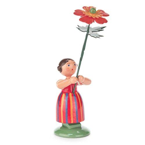 Blumenmädchen mit Geum Nelkenwurz, Figur aus Holz, 10,5 cm, von DREGENO SEIFFEN – Original erzgebirgische Handarbeit, stimmungsvolle Dekoration