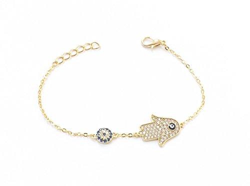 Remi Bijou Wunderschönes Armband Armkette Armkettchen - Fatimas Hand Fatma eli Buddha – Gold Farbe Strass – blaues Auge Nazar Boncuk Evil Eye
