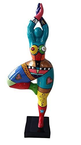 Laure TERRIER Statua di Ballerina, Stile Nana Niki de Saint Phalle, Pezzo Unico Dipinto a Mano, Decorazione Modello Milla, Altezza 52 Centimetri