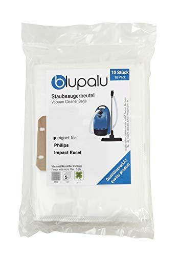 blupalu I Staubsaugerbeutel für Staubsauger Philips Impact Excel I 10 Stück I mit Feinstaubfilter