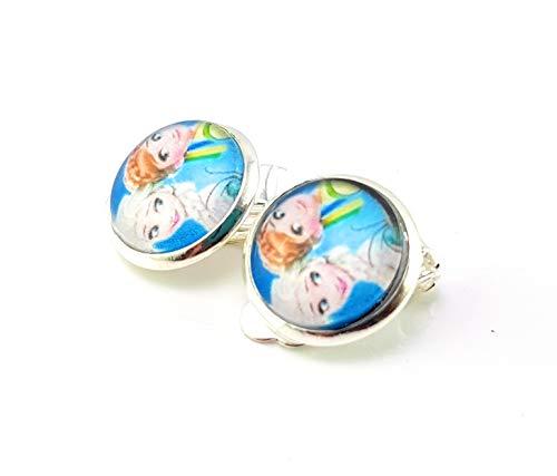 Stechschmuck Ohrclips Ohrklemmen Anna Elsa Frozen Damen Kinder Silber Farben Kitsch Kawaii 14mm 1 Paar Nickelfrei