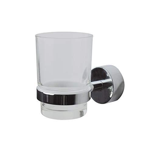SOSmart24 - GECO Zahnputzbecherhalter Wandmontage ohne Bohren - Chrom glänzend - Zahnputzbecher Wand für Bad und Badezimmer - Inklusive Klebeset