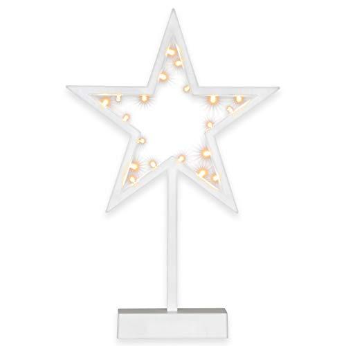 Nipach GmbH 20 LED Dekoleuchte Stern kalt warm weiß Weihnachtsstern Lichterstern Dekostern 38 cm