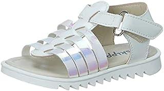 Skippy Velcro Closure Open Toe Sandals for Girls - White, 24 EU