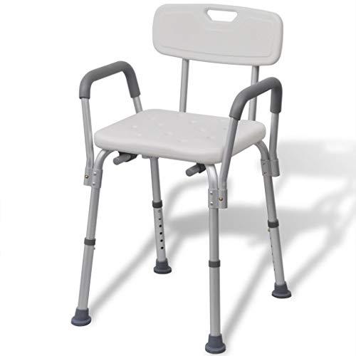vidaXL Duschstuhl mit Arm-& Rückenlehne Aluminium Duschsitz Badestuhl Badhocker