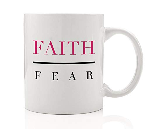 Inspirational Coffee Mug Gift Idea Faith Over Fear Birthday Christmas Present Christian Spiritual Belief Trust All Will Be Well for Family Friend Coworker Pastor 11oz Ceramic Cup Digibuddha DM0128