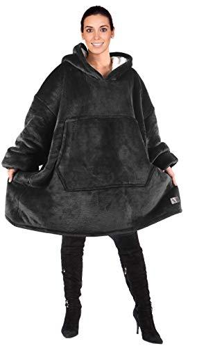 Kato Tirrinia Übergroße Sherpa Hoodie Sweatshirt Decke, Weiche Warme Riesen Hoodie Fronttasche Giant Plüsch Pullover Decke mit Kapuze for Erwachsene Männer Frauen Teenager-Studenten, Schwarz