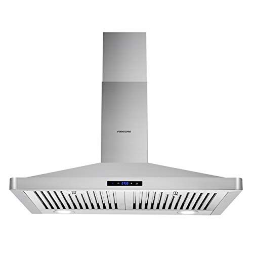 Firegas Wall Mount Range Hood 30 inch,450 CFM Ducted Range Hood with Ducted/Ductless Convertible,Stove Hood Vent for Kitchen with 3 Speed Fan,Permanent Filter,Led Lights,Digital Touch,Charcoal Filter