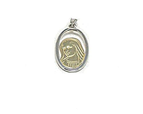 Restivo Gioie-Colgante Medalla Colgante de oro amarillo y blanco 18kt 750/° ° ° Virgen Gr.2,5