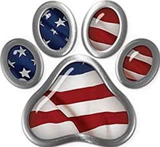 Weston Ink Reflective Dog Cat Animal Paw Sticker Decal with American Flag