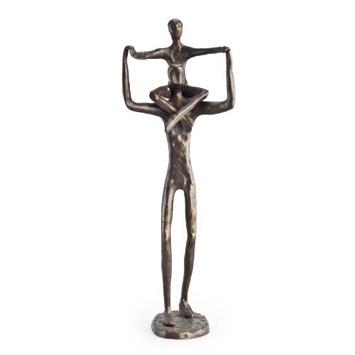 Danya B. Bronze Father Holding Child (Son or Daughter) on Shoulders, Modern Sculpture for Home or Office, Gift for Dad, Brother, Uncle, Teacher from Child, Contemporary Statue