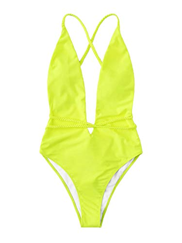 SOLY HUX Women Sexy One Piece Swimsuit Deep Plunge Belted Low Back Padded Swimwear Neon Yellow Small
