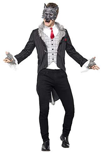 Halloween! Smiffys Großer Böser Wolf-Kostüm, Deluxe, Grau, mit Jacke, abnehmbarem Schwanz, vorgetäuschtem Hemd, Maske und Handschuhe