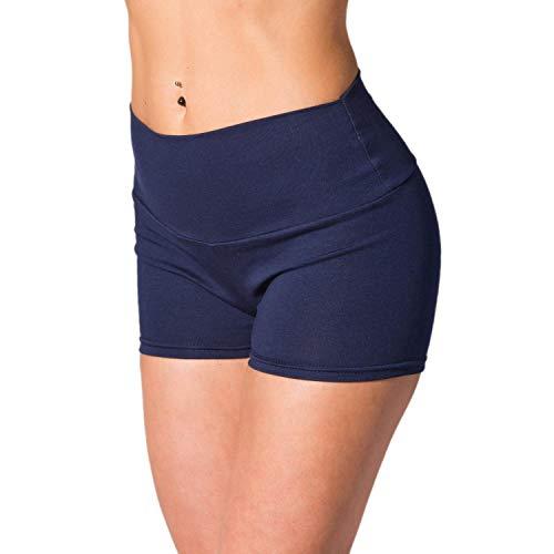 Alkato Damen Sport Shorts mit Hohem Bund Hotpants, Farbe: Dunkelblau, Größe: 36