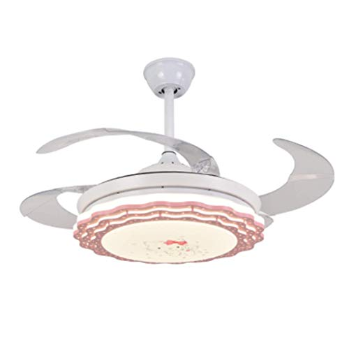 Ventilador De Techo LED con Función De Iluminación Y Control Remoto, Luz De Ventilador De Techo Interior para Niñas, 3 Cambios De Color Dimmable, 3 Velocidad Ajustable, Silencioso Y Ahorro De Energía