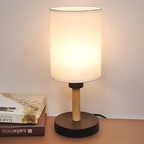Lámpara de Mesa/Lámpara de Escritorio/Lámpara de Escritorio de Sombra/Lámpara de Madera Maciza para Dormitorio, Lámpara de Mesa Moderna con Pantalla de Lino para Mesita de Noche de Dormitorios