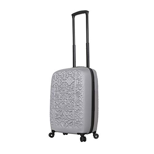 Mia Toro Italy Molded Art Mozaic Hard Side Spinner Luggage 20', Silver