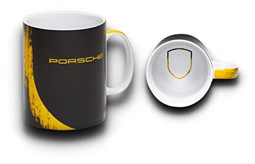 Porsche Tasse Becher GT4 Clubsport Limited Edition Schwarz Gelb |Made In Germany | NUR Hier + Extra Schlüsselring Mit Schraubverschlusss | Set