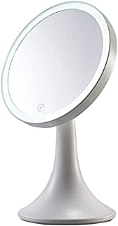 BMJ&C LED Makeup Mirror Portable Vanity Mirror with Lights, Touch Screen Switch (Color : White)