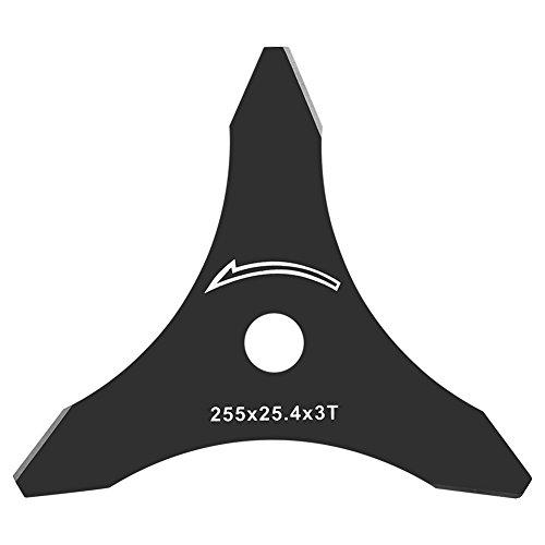 Dickichtmesser 3 Zahn Messer für Motorsense, Ersatzmesser Klinge für Freischneider, Durchmesser 255 mm/Bohrung 25,4 mm/Dicke 1,5 mm Dickichtmesser mit 3 Schneidern