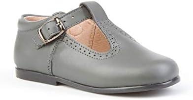 Zapatos pepitos para bebé con Cierre de Hebilla. Patucos Unisex Primeros Pasos Fabricados en Piel - Mi Pequeña Modelo 503I Color Gris.