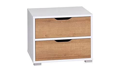 DOMTECH nachtkastje voor je slaapkamer, nachtkastje, commode wit, bijzettafel, hout, kleine tafel kast met schuifladen, slaapkamer plank comodes voor lampen, dressoir wit
