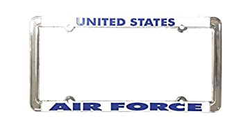 License plate frame United States Air Force ~ Chrome Raised Blue Letters on White Background