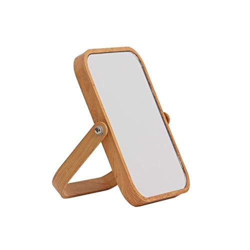 LYMUP Espejo para el hogar de madera, espejo doble, 3 aumentos de aumento, espejo de maquillaje de alta definición, espejo de afeitado, espejo rectangular de mesa para el hogar.