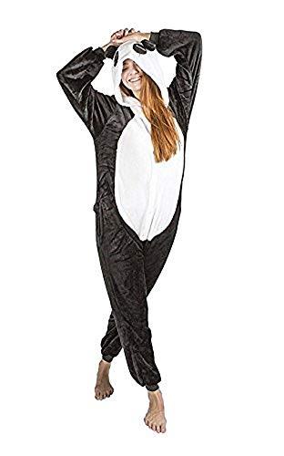 Ducomi Kigurumi Pijamas Disfraces Divertidos - Pijamas Unisex Adulto Cosplay Disfraz de Animal - Peluche Halloween y Carnaval Mujer Hombre - Pijama Tuta Unicornio, Koala, Panda (Panda, XL)